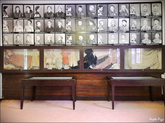 Raggiungere Auschwitz partendo da Cracovia. Foto delle vittime. Una parete piena di fotografie di bambini e ragazzi. Sotto una teca con all'interno vestiti e oggetti da neonato