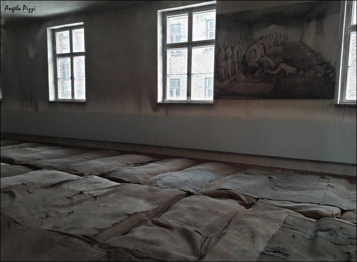 Raggiungere Auschwitz partendo da Cracovia. Tristezza e Orrore. All'interno di uno dei blocchi, una delle stanze in cui le vittime venivano ammassate