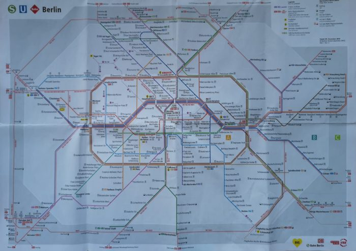 Mappa della Metropolitana di Berlino in cui si possono vedere le zone A-B-C