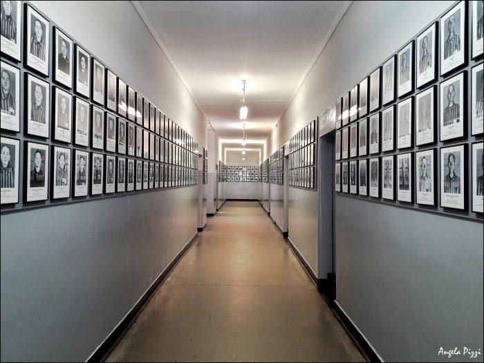 Raggiungere Auschwitz partendo da Cracovia. Corridoi e pareti tempestati di centinaia di fotografie dei prigionieri